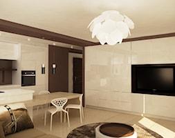 Mieszkanie w Piesecznie - Średni biały czarny salon z kuchnią z jadalnią, styl nowoczesny - zdjęcie od Icona Studio