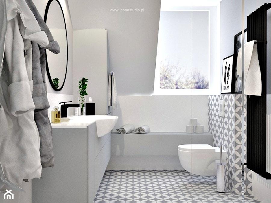 Poddasze W Głoskowie Mała Biała Szara łazienka Na Poddaszu Z Oknem