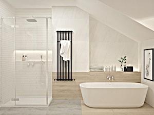 Łazienka skandynawska - metamorfoza - Średnia łazienka na poddaszu w domu jednorodzinnym bez okna - zdjęcie od Icona Studio