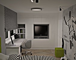 Mieszkanie w Piasecznie 3 - Średni biały szary pokój dziecka dla chłopca dla nastolatka, styl nowoczesny - zdjęcie od Icona Studio