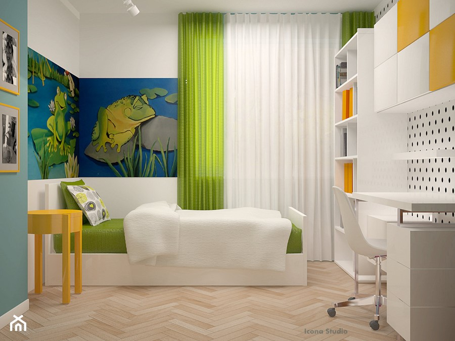 pokój dziecka - Średni biały turkusowy niebieski zielony pokój dziecka dla chłopca dla dziewczynki dla ucznia dla malucha dla nastolatka, styl skandynawski - zdjęcie od Icona Studio
