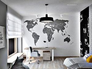 Dom w Warszawie - Średni biały czarny pokój dziecka dla chłopca dla ucznia dla nastolatka, styl nowoczesny - zdjęcie od Icona Studio