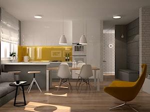 Mieszkanie na Ursynowie - Średnia otwarta żółta kuchnia w kształcie litery u w aneksie z oknem, styl skandynawski - zdjęcie od Icona Studio