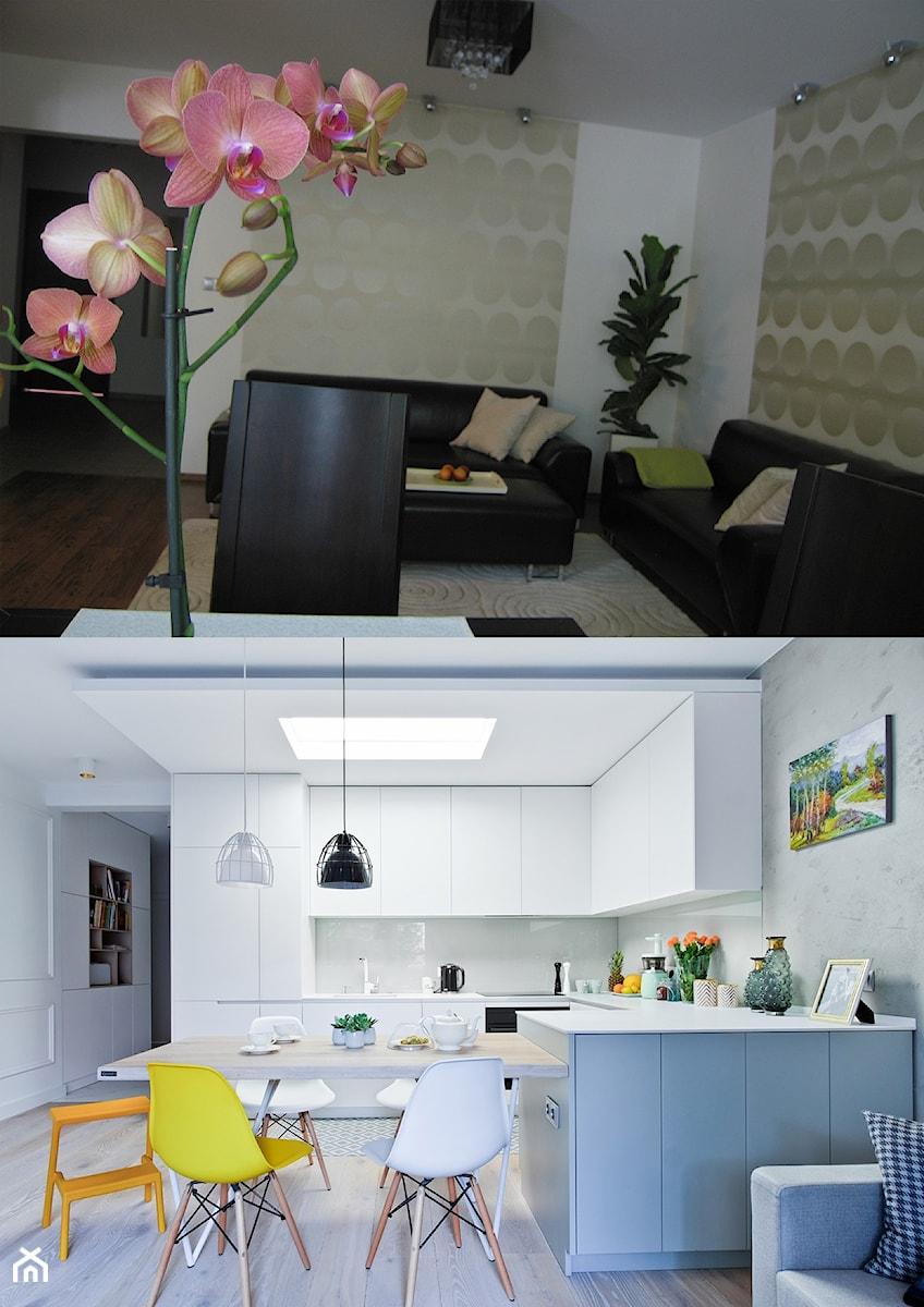 Metamorfoza mieszkania w Piasecznie - Średnia otwarta szara kuchnia w kształcie litery l, styl eklektyczny - zdjęcie od Icona Studio