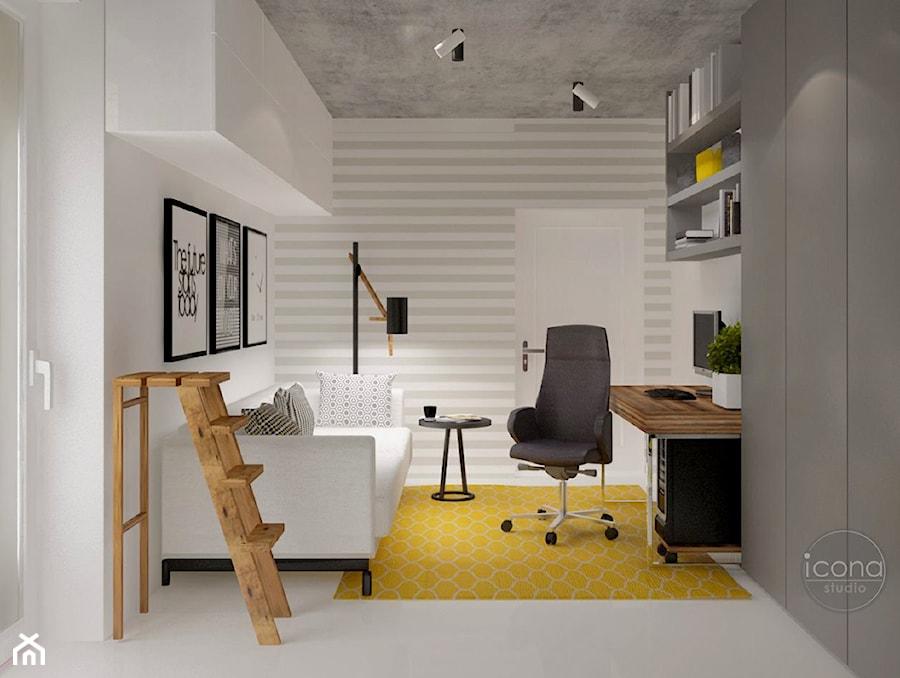 Aranżacje wnętrz - Biuro: nowoczesne mieszkanie w Piasecznie - Małe białe biuro kącik do pracy w pokoju, styl nowoczesny - Icona Studio. Przeglądaj, dodawaj i zapisuj najlepsze zdjęcia, pomysły i inspiracje designerskie. W bazie mamy już prawie milion fotografii!