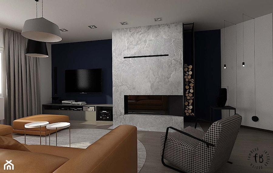 Salon z kominkiem i jadalnią - zdjęcie od Femberg Architektura Wnętrz - homebook