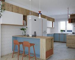 Kuchnia Gdańsk Niedźwiednik - Duża otwarta biała kuchnia w kształcie litery g z wyspą z oknem, styl vintage - zdjęcie od asymetric studio