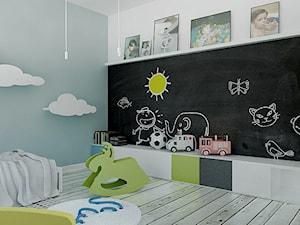 Mieszkanie_Sopot_Haffnera - Średni biały niebieski pokój dziecka dla chłopca dla dziewczynki dla malucha, styl skandynawski - zdjęcie od asymetric studio