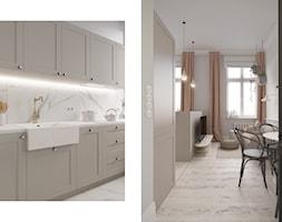 Mieszkanie Gdańsk Wrzeszcz - Średnia otwarta biała beżowa kuchnia jednorzędowa z wyspą z oknem, styl eklektyczny - zdjęcie od asymetric studio