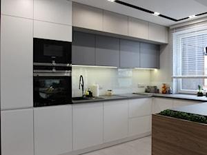 Nowoczesny apartament, 72m2 - Średnia otwarta biała kuchnia w kształcie litery u z oknem, styl nowoczesny - zdjęcie od MK HOME