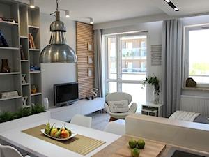Przytulnie, nowocześnie, klimatycznie - Średni szary salon z bibiloteczką z kuchnią z jadalnią z tarasem / balkonem, styl nowoczesny - zdjęcie od MK HOME