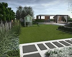 Ogród z basenem - Duży ogród za domem w stylu skandynawskim z altaną, styl nowoczesny - zdjęcie od MIA studio