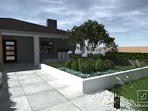 Ogród z basenem - Średni ogród przed domem, styl nowoczesny - zdjęcie od MIA studio