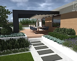 Ogród z basenem - Średni taras z przodu domu z tyłu domu rustykalny, styl nowoczesny - zdjęcie od MIA studio