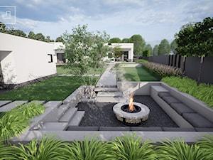 Ogród minimalistyczny z paleniskiem