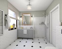 rezydencja styl klasyczny - Średnia biała szara łazienka w domu jednorodzinnym z oknem, styl klasyczny - zdjęcie od StudioAtoato