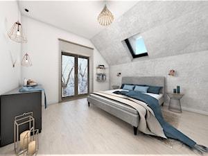 Lazurowe cztery kąty - Duża szara sypialnia małżeńska na poddaszu, styl skandynawski - zdjęcie od StudioAtoato