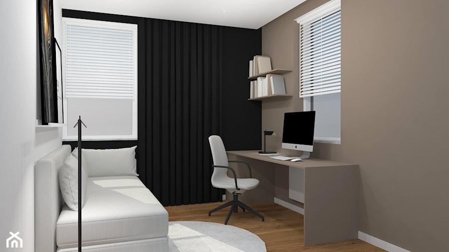 Projekt mieszkania Kraków - Średnie szare białe biuro domowe kącik do pracy w pokoju, styl minimalistyczny - zdjęcie od jedna.pani.s