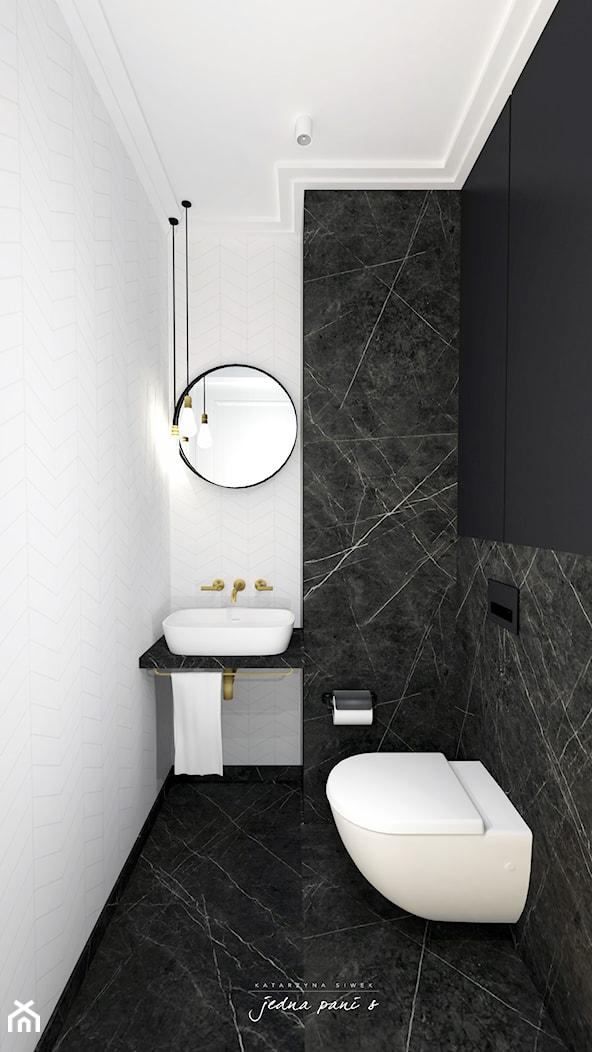 Mieszkanie w Warszawie - Mała biała czarna łazienka w bloku w domu jednorodzinnym bez okna, styl ek ... - zdjęcie od jedna.pani.s - Homebook