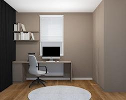 Projekt mieszkania Kraków - Małe szare białe biuro kącik do pracy, styl minimalistyczny - zdjęcie od jedna.pani.s