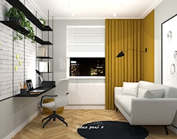Mieszkanie w Warszawie - Średnie szare biuro domowe kącik do pracy w pokoju, styl eklektyczny - zdjęcie od jedna.pani.s