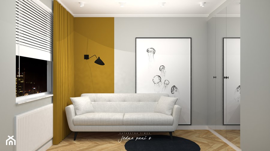 Mieszkanie w Warszawie - Małe szare biuro domowe w pokoju, styl eklektyczny - zdjęcie od jedna.pani.s