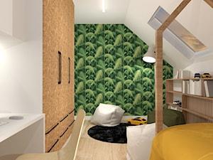 Projekt domu pod Krakowem - Duży biały zielony pokój dziecka dla chłopca dla dziewczynki dla ucznia dla nastolatka, styl nowoczesny - zdjęcie od jedna.pani.s