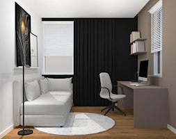 Projekt mieszkania Kraków - Małe brązowe szare biuro domowe kącik do pracy w pokoju, styl minimalistyczny - zdjęcie od jedna.pani.s