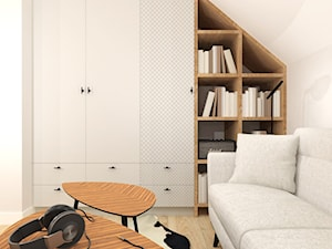 Projekt domu pod Krakowem - Małe białe biuro domowe kącik do pracy na poddaszu w pokoju, styl nowoczesny - zdjęcie od jedna.pani.s