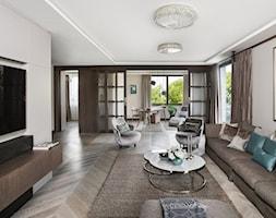 APARTAMENT PRZY PARKU - Duży szary salon z jadalnią, styl nowoczesny - zdjęcie od architekt Roland Stańczyk   RS Studio Projektowe - Homebook