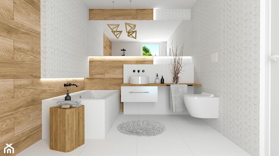 łazienka z BIAŁYMI CHEVRONAMI - zdjęcie od kaflando