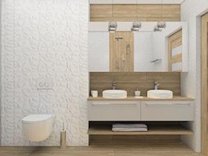 łazienka z płytkami 3D FUTURE + drewno