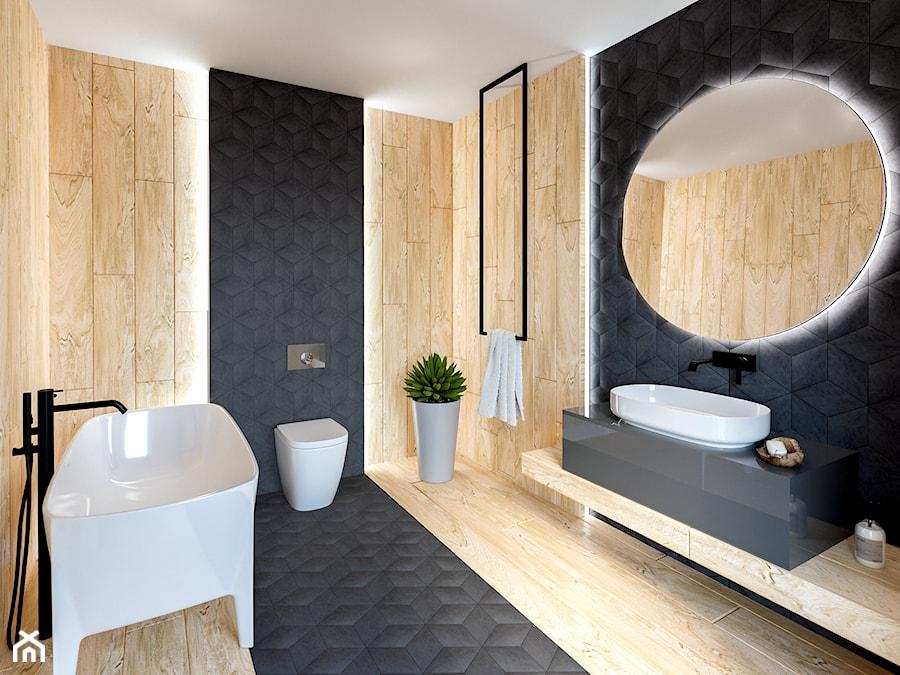 łazienka Grafitowy Romb Drewno Zdjęcie Od Kaflando