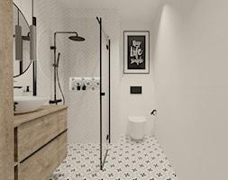 Biała łazienka z cegiełkami i patchworkiem 3 - zdjęcie od kaflando - Homebook