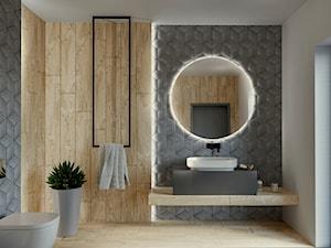 Łazienka z szarymi Rombami 3D i drewnem TEAK