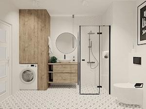 Biała łazienka z cegiełkami i patchworkiem
