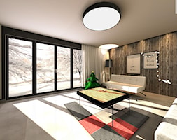 Dom jednorodzinny - Duży szary czarny salon, styl skandynawski - zdjęcie od EBBE Design Projektowanie Wnętrz - Homebook