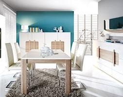 Kolekcja Attention - Średnia otwarta szara turkusowa jadalnia w salonie - zdjęcie od FORTE