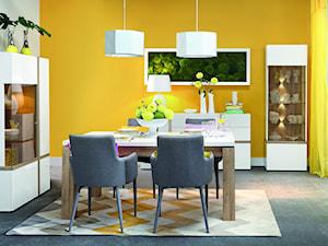 Kolekcja Bianko - Duża otwarta biała żółta jadalnia jako osobne pomieszczenie, styl tradycyjny - zdjęcie od FORTE
