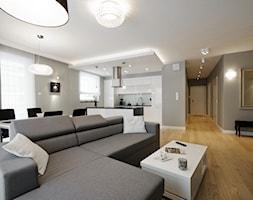 Apartament Saska - Duży salon z kuchnią z jadalnią, styl nowoczesny - zdjęcie od BB Studio S.C.
