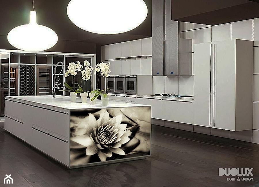 Wyspa w kuchni z podświetlaną grafiką  zdjęcie od DUOLUX S C  -> Kuchnia Z Wyspą Grafika