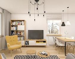 Mieszkanie 47m2 Warszawa - Mały szary salon z jadalnią, styl skandynawski - zdjęcie od INTERIOLOGY