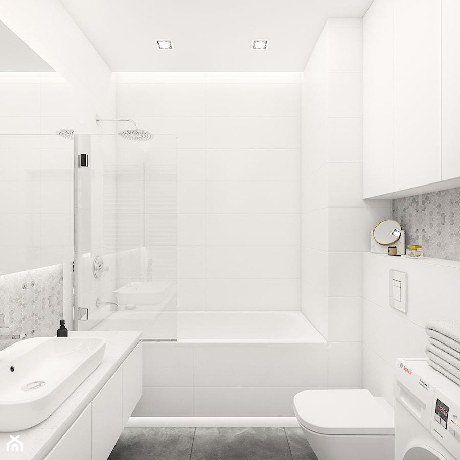 Aranżacje wnętrz - Łazienka: Mieszkanie 70m2 (2) Warszawa - Średnia biała szara łazienka bez okna, styl nowoczesny - INTERIOLOGY. Przeglądaj, dodawaj i zapisuj najlepsze zdjęcia, pomysły i inspiracje designerskie. W bazie mamy już prawie milion fotografii!