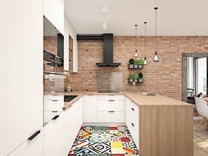 Dom 150m2 pod Warszawą - Duża otwarta kuchnia w kształcie litery u w aneksie, styl skandynawski - zdjęcie od INTERIOLOGY