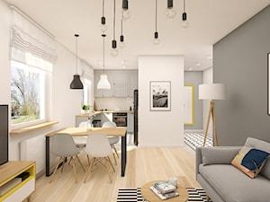 Mieszkanie 47m2 Warszawa - Średni szary biały salon z kuchnią z jadalnią, styl skandynawski - zdjęcie od INTERIOLOGY