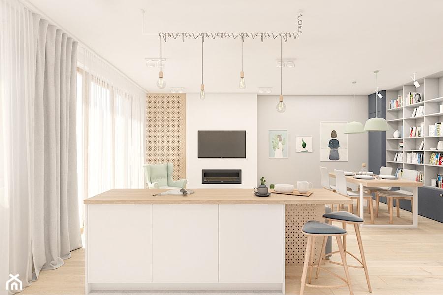 Mieszkanie 65m2 Warszawa - Mała otwarta szara kuchnia jednorzędowa w aneksie z wyspą z oknem, styl skandynawski - zdjęcie od INTERIOLOGY