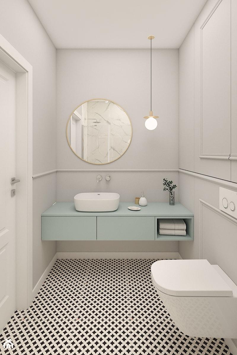 Mieszkanie 100m2 Warszawa - Mała szara łazienka w bloku w domu jednorodzinnym bez okna, styl nowocz ... - zdjęcie od INTERIOLOGY