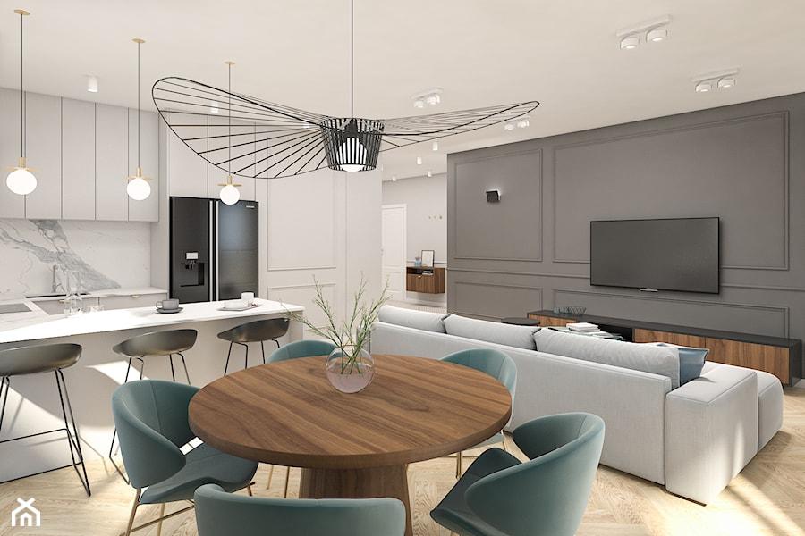 Mieszkanie 100m2 Warszawa - Średni szary biały salon z kuchnią z jadalnią, styl nowoczesny - zdjęcie od INTERIOLOGY