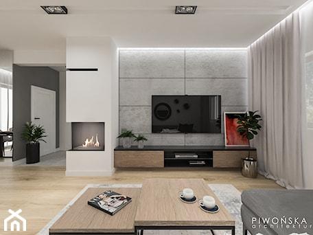 Dom w Piastowie - Średni duży szary biały salon z jadalnią, styl nowoczesny - zdjęcie od Piwońska&Serwa
