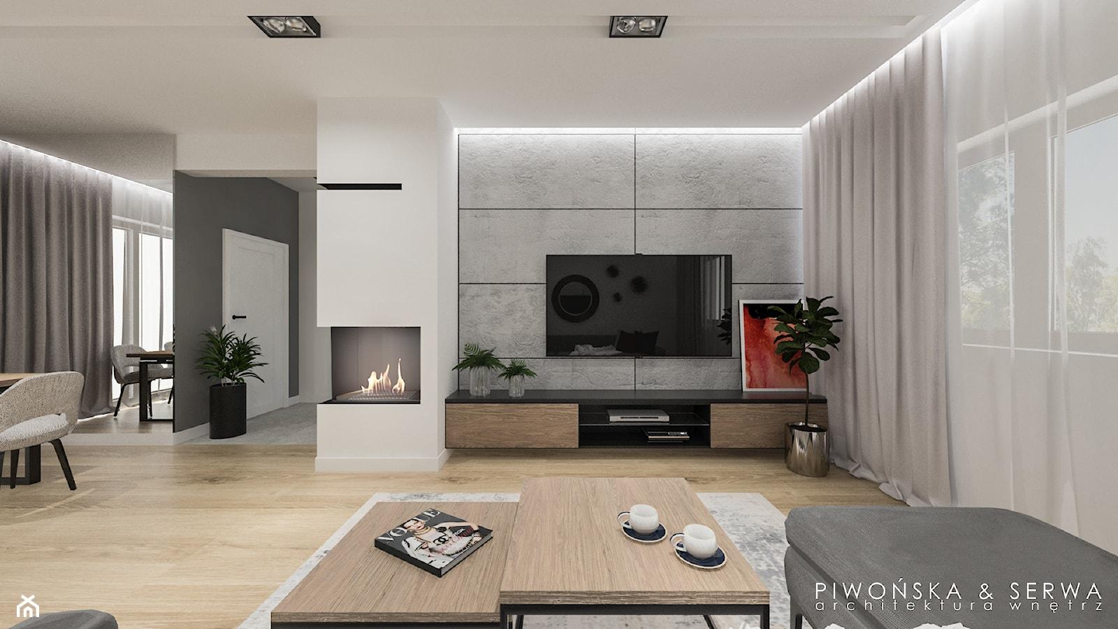 Dom w Piastowie - Średni duży szary biały salon z jadalnią, styl nowoczesny - zdjęcie od Piwońska&Serwa - Homebook